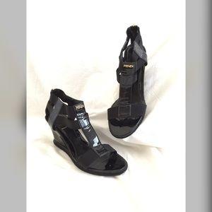 Auth FENDI Black Patent Leather Wedge Sandals